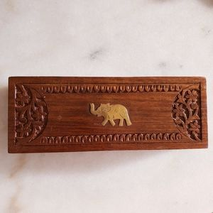 Wood Carved Floral Elephant Hinged Trinket Box